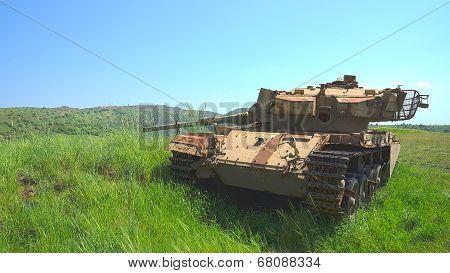 Old Israeli Tank Centurion Shot Kal On Golan Heights