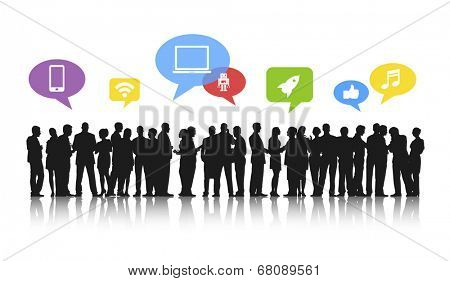Silhouettes of Business People Working and Social Media Concepts