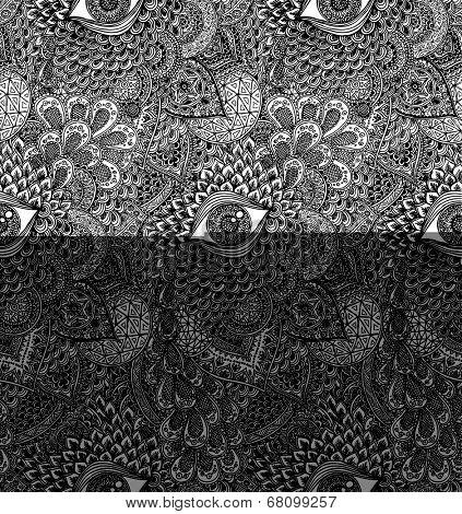 Black and White Seamless Vector Mandala Pattern