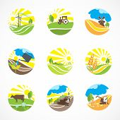 Decorative agriculture and farming landscape icons set isolated vector illustration poster
