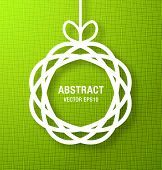 Abstract Circle Paper Applique on Green Background. Vector illustration. poster