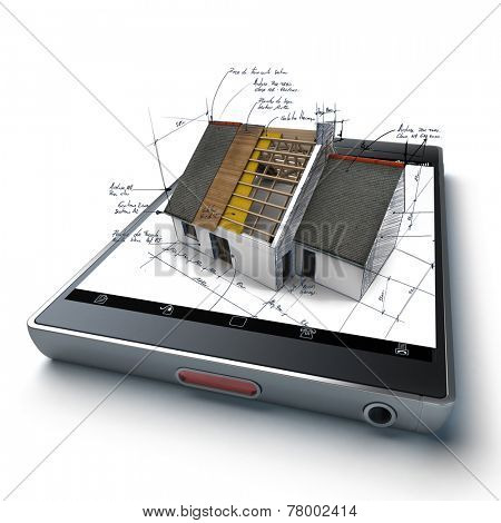 House under construction with technical notes, on top of a handheld device