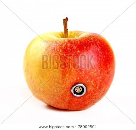 Apple with a connector isolated over white background poster