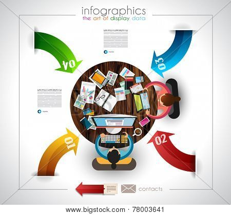 Infographic template with flat UI icons for ttem ranking. Ideal to use for marketing studies display, features ranking, strategy illustrations, seo optimization and social media. poster