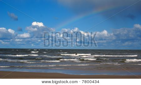 Beautiful seaside landscape (rainbow)