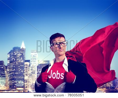 Jobs Strong Superhero Success Professional Empowerment Stock Concept