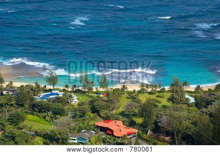Aerial view a Kauai beach