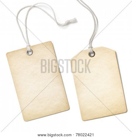 Blank old paper cloth tag or label set isolated on white