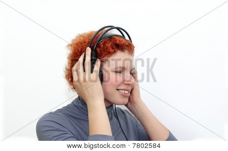 Woman in headphones