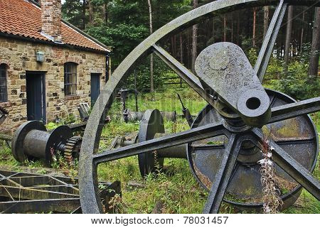 Big iron wheel in the wood in England