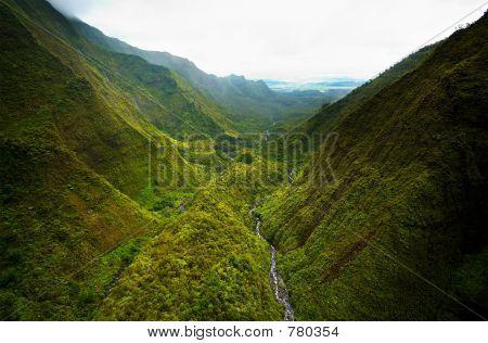 Aerial view Kauai valley