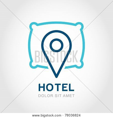 Vector Logo Design Template. Waypoint Map Symbol And Pillow. Creative Concept Symbol For Hotel, Host