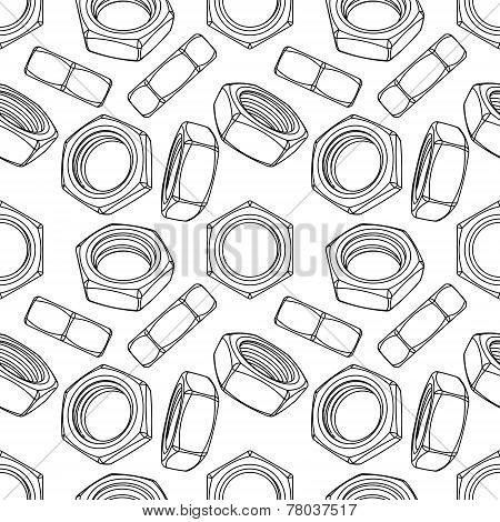 Seamless of hexagon nuts on white background