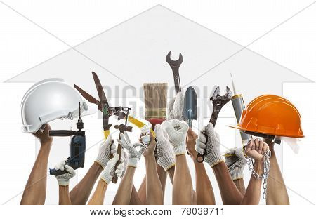 Hand And Home Working Tool Against House Pattern Backgroud Use For Diy And House Owner Maintenance