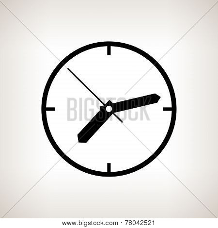 Silhouette Watch On A Light Background, Vector Illustration