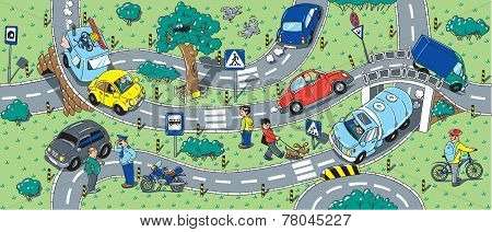 Big Road Seamless Pattern Or Background