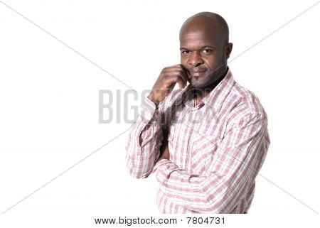Happy African Businessman Portrait Smiling Looking Isolated On White Background.