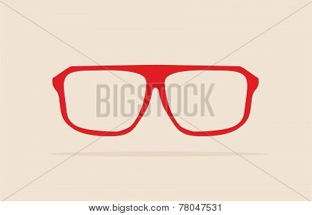 Red nerd glasses with thick holder - retro hipster vector illustration isolated on beige background