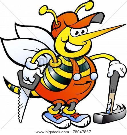 Hand-drawn Vector Illustration Of An Happy Working Carpenter Bee