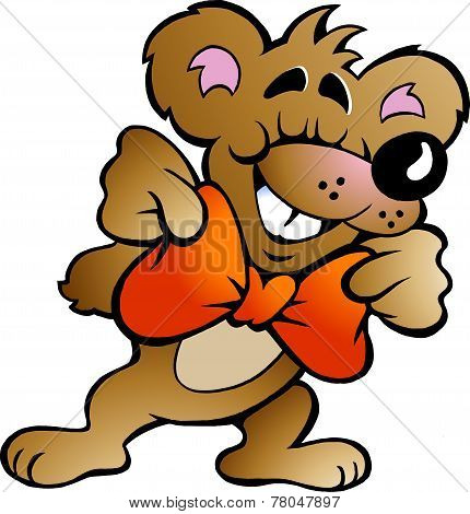 Hand-drawn Vector Illustration Of An Happy Party Bear