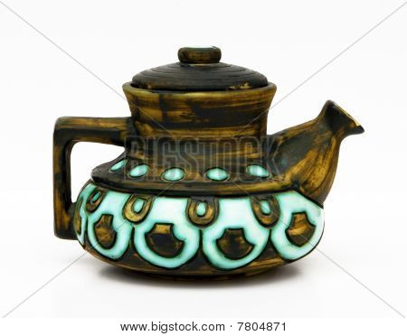 Jerusalem Retro Ceramic Teapot On A White Background.
