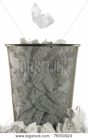 basket full of white wastepaper