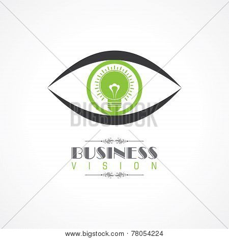 vision and idea concept- eye with light bulb symbol stock vector