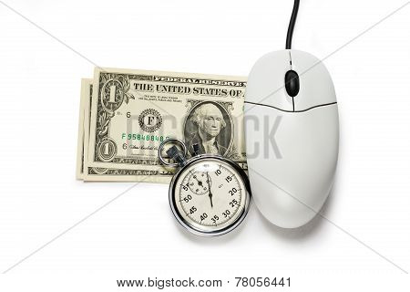 Computer Mouse With Dollar Banknotes And Stopwatch