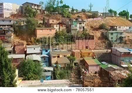 Favela Style housing in Tijuana, Baja California, Mexico