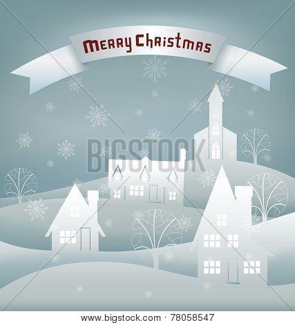Christmas design night village banner lettering