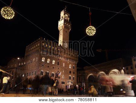 Piazza Della Signoria By Night, Florence