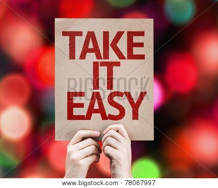 Take It Easy card with colorful background with defocused lights