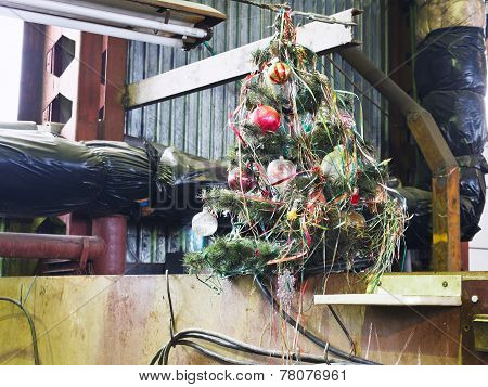 old decorated Christmas tree in turnery workshop poster