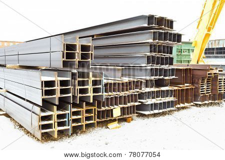 Steel Beams In Outdoor Warehouse