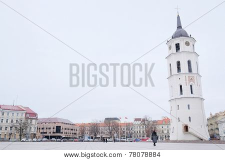 VILNIUS,LITHUANIA, November 17, 2014: The Cathedral Square in Vilnius, Lithuania, Europe