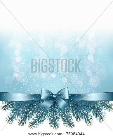 Winter Snow And Blue Ribbon Background. Vector.