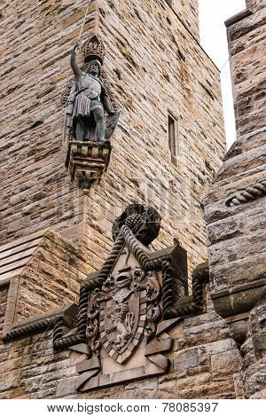 William Wallace Statue And Coat Of Arms At The National Wallace Monument In Stirling, Scotland