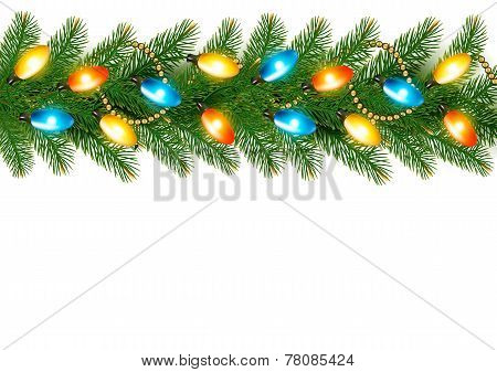 Christmas Background With Colorful Garland And Fir Branches Vector Illustratio