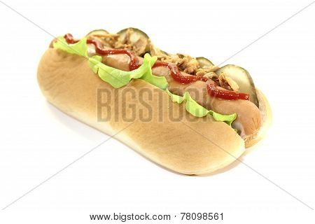 Hot Dog With Ketchup, Salad And Fried Onions
