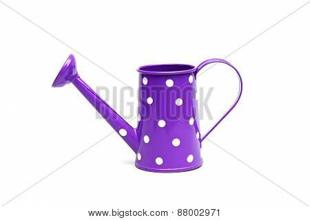 purple watering can with white spot isolated