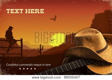 American Country Music.western Background With Guitar