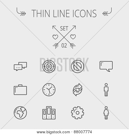 Technology thin line icon set for web and mobile. Set includes - chat, goal, clock, globe, gear, man, woman icons. Modern minimalistic flat design. Vector dark grey icon on light grey background.