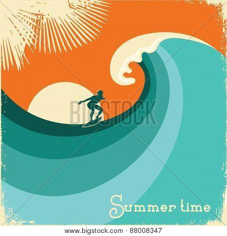 Surfer And Sea Wave.retro Poster Illustration