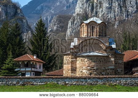 Panorama of medieval Poganovo Monastery of St. John the Theologian, Serbia poster