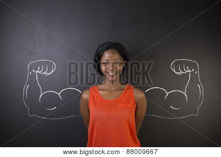 South African Or African American Woman With Healthy Strong Arm Muscles For Success