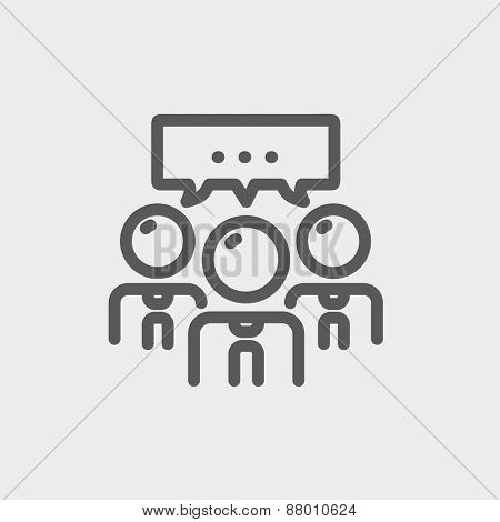 People with chat bubble icon thin line for web and mobile, modern minimalistic flat design. Vector dark grey icon on light grey background. poster