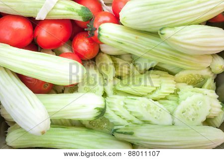Fresh Cucumbers And Tomatoes Full Frame Vegetables Picture