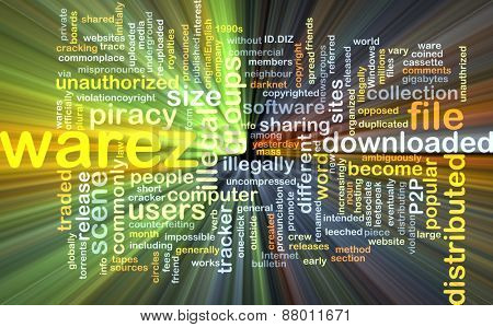 Background text pattern concept wordcloud illustration of warez glowing light