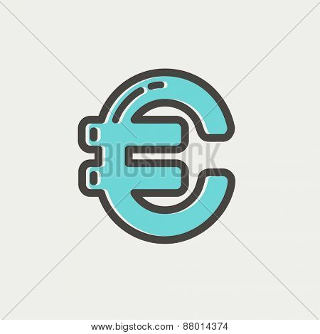 Euro symbol icon icon thin line for web and mobile, modern minimalistic flat design. Vector icon with dark grey outline and offset colour on light grey background.
