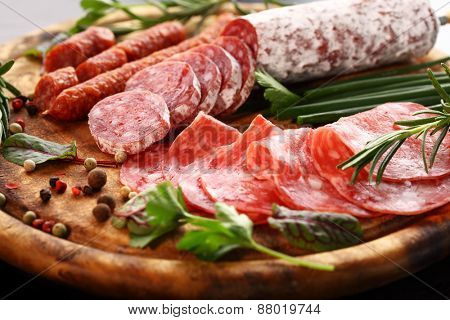 Antipasto and catering platter with different appetizers poster
